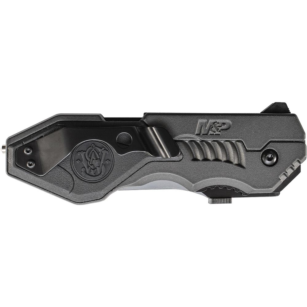 Smith & Wesson® Large M&P® M.A.G.I.C.® Assisted Opening Liner Lock Folding Knife Partially Serrated Clip Point Blade Aluminum Handle