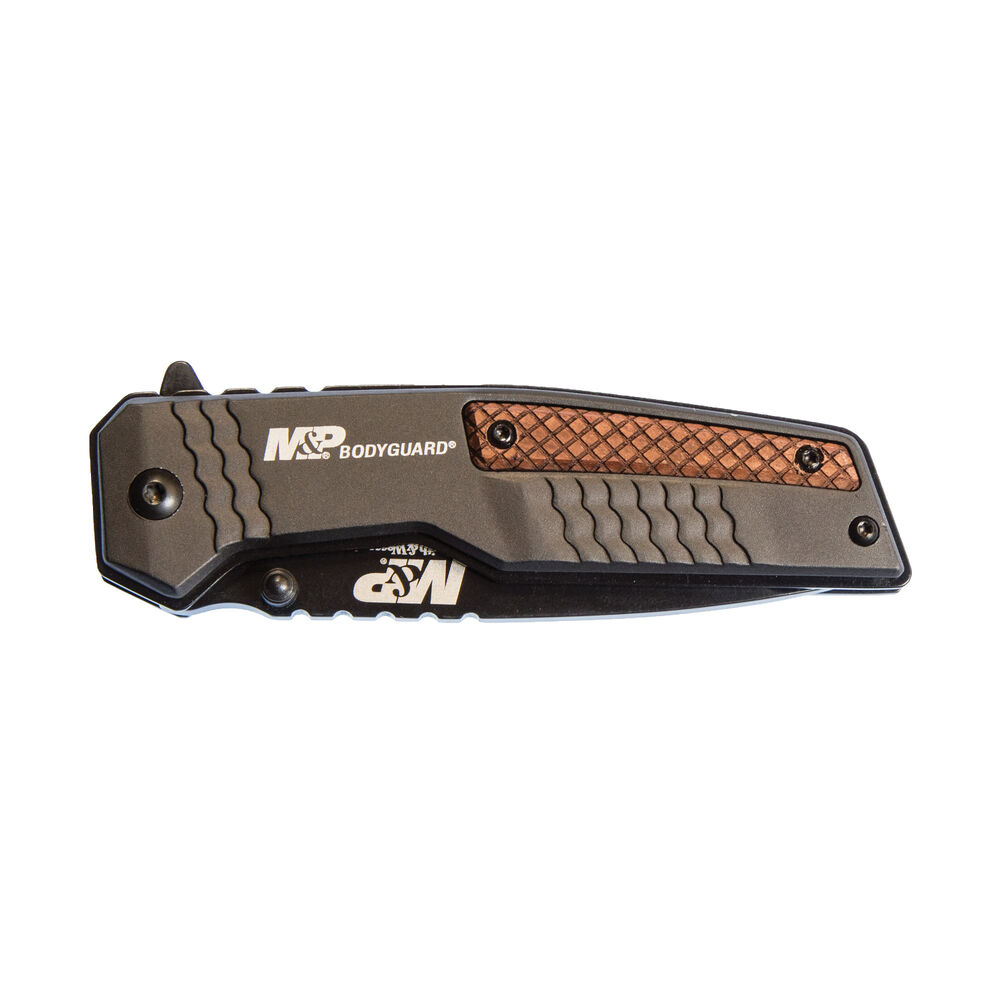 MPBG52 Bodyguard Tanto Point Serrated Blade Grey/Wood Handle