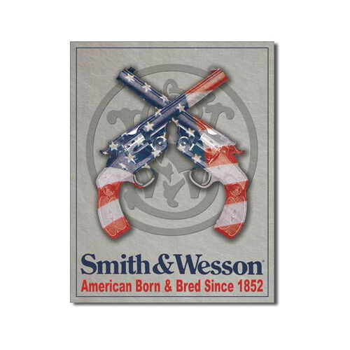 Smith & Wesson Tin Sign - Born and Bred Since 1852