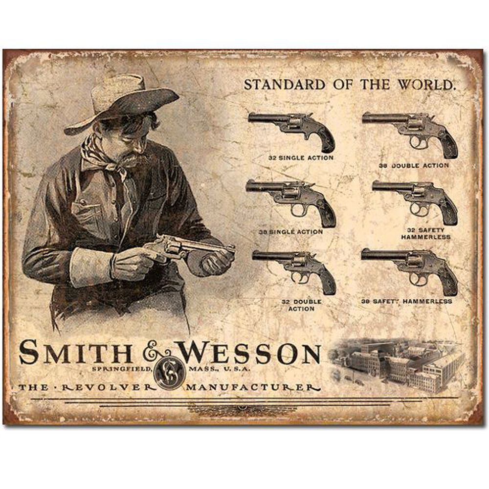 Smith & Wesson® Rev's Std Of The World Tin Sign